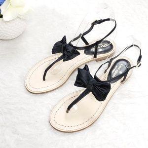NEW Kate Spade Serrano Black Bow Satin Sandals